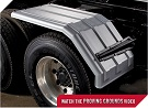 MINIMIZER Fenders.  The Square Back Bruiser Half Fenders.  MINIMIZER 1550 Half Fenders.  Heavy Duty Semi Truck Fenders. In Stock and Ready To Ship FAST.
