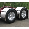"#1 Sale. Trux Semi Truck 96"" Stainless Steel ""Rollin'Lo"" Long Single Axle Fender w/ Rolled Edge"