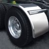 "Sale on Semi Truck Fenders. Quality Trux H54 Smooth Stainless Half Fenders. 14 Guage Strong.  66"" ( Price is per pair ) Big Rig Fenders In stock and ready to ship."