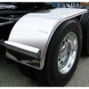 "Sale on Semi Truck Fenders. Quality Trux H12 Smooth Stainless Half Fenders. 16 Guage Strong.  60"" 25"" - 35"" Economy Package ( Price is per pair ) Big Rig Fenders In stock and ready to ship."