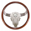 "#1 AAA Seller Semi Truck Steering Wheel Cow Skull.  Luxury Series.  Bull/Buffalo - 18"" Mahogany Rim, Polished Aluminum, Etched Bull/Buffalo Face 3-Spoke (Alum. Spacer Included)"